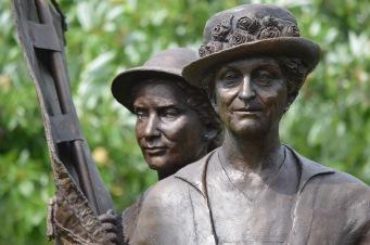 Suffragist statue closeup